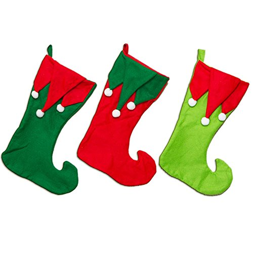 Elf Red Stocking with White -