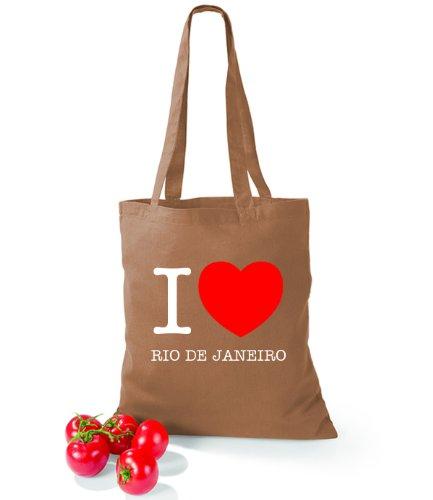 Artdiktat Baumwolltasche I love Rio de Janeiro Caramel