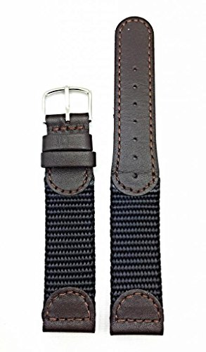 18mm Brown Swiss Army Style Watch Band | Soft Leather and Black Nylon Replacement Wrist Strap that brings New Life to Any Watch (Mens Length)