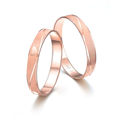 GOWE 18K Rose Gold Couple Ring Pure Gold AU750 Ring Tail Ring Wedding Men and Women Jewelry Gift for Girlfriend Support Customization by GOWE