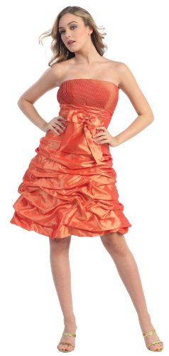 Strapless Bow Pick-up Formal Bridesmaid Prom Dress #505 (20, Orange)