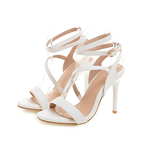 Women's Sandals Summer Fashion Narrow Band Open Toe Buckle Fine Heel High Heel Women's Shoe Plus Size 32 46,2,14