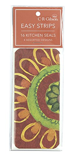 (C.R. Gibson Floral Watercolor Resealable Kitchen Tape Strips, 16pc, 2.5
