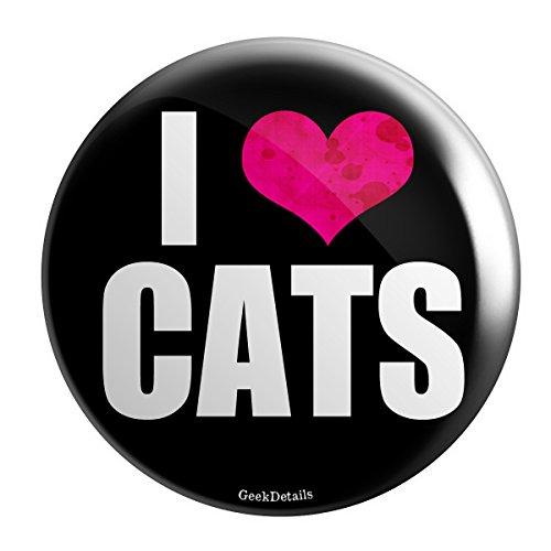 Button Love Pinback (Geek Details Cat Themed Pinback Button (I Love Cats))
