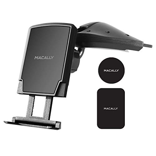 Macally Magnetic Car Cd Slot Phone Holder Mount with Super Strong Magnet for iPhone X 8 8 Plus 7 7+ 6s Plus 6s 6 5S 5 SE Samsung Galaxy S9 S9 Plus S8 Edge S7 S6 Note 5, Cell Phones, GPS, etc (MCDMAG) by Macally
