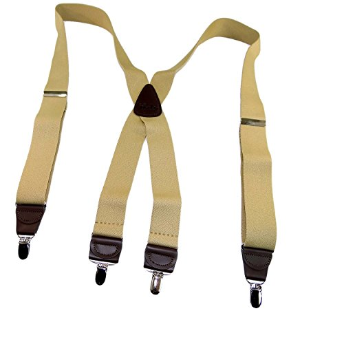 Holdup Suspender Company's Sand Dunes Tan Casual Series X-back Suspenders with Silver-tone No-slip Clips by Hold-Up Suspender Co. (Image #9)