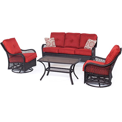 Hanover ORLEANS4PCSW-B-BRY Orleans 4 Piece All-Weather Patio Set, Autumn Berry