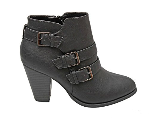 Block Titan Forever Mall Booties Strap Pu Black Ankle Buckle Heel Women's n66RcB4r