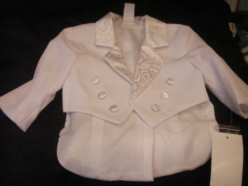White Baby Tuxedo Christening Baptism with Design 4T