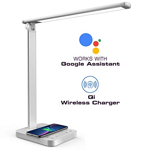 Smart LED Desk Lamp-Dimmable Table Lamp with Voice Remote Control, USB/Wireless Charging, 30min Timer and Touch Control 3 Color Models 6 Brightness Levels 10W 64LEDs(Silver, 2019 New Technology)