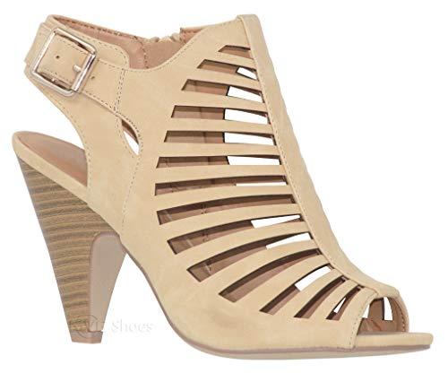 MVE Shoes Women's Chunky Heel Open Toe Back Zipper Heeled Sandal, Shaky Beige 10 ()