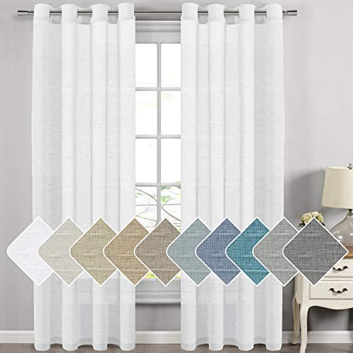 H.VERSAILTEX Extra Long Linen Curtains Window Treatments for Living Room/Rich Linen Sheer Curtain Panels and Drapes, Classic Nickel Grommet Extra Long Curtains, 52 by 108 Inch, 2 Panels (108 Sheer Curtains Long Inches)