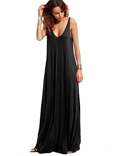(Verdusa Women's Casual Sleeveless Deep V Neck Knitted Shift Sexy Maxi Long Dress Black M)