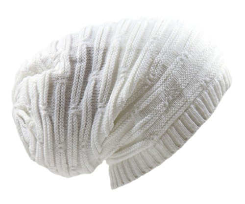 RW Rasta Stretch Long Beanie Hats (White)