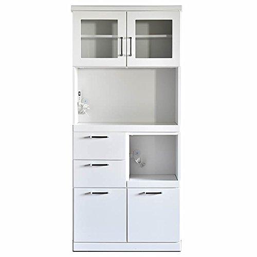 食器棚 完成品 COCO(ココ) レンジ台 白 幅60㎝ 幅80cmオープン引出しタイプ 引き戸 キッチン収納棚 レンジボード おしゃれ (幅80㎝オープン引き出しタイプ) 幅80㎝オープン引き出しタイプ  B071WRY878