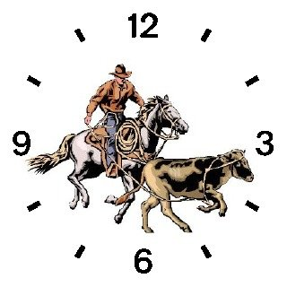Horse and Rider Chasing Calf in Calf Wrestling Horse - WATCHBUDDY DELUXE TWO-TONE THEME WATCH - Arabic Numbers - Green Leather Strap-Children's Size-Small ( Boy's Size & Girl's Size ) by WatchBuddy