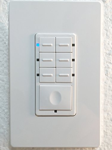 Enerwave ZWN-SC7 Z-Wave Scene Controller 7-Button Switch, 2 Free Wall Plates, NEUTRAL WIRING REQUIRED - White