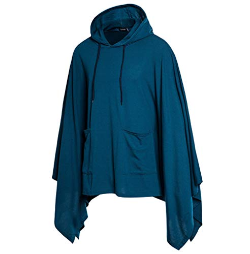 FONMA Mens Pocket Irregular Patchwork Loose Bat Sleeves Hooded Poncho Cape Coat Blue