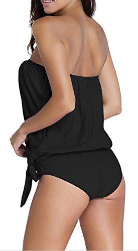 EmilyLe Mujer Traje de baño de dos piezas de color sólido Summer Beachwear Strapless Tankini conjuntos Negro