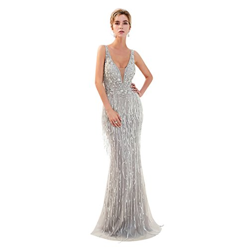 Embellished Satin A-line Dress - Trendership Women's Double V-Neck Appliques Long Formal Dresses Lace Sequin A Line Evening Dress Cocktail Gowns (Size 12 US, Grey)