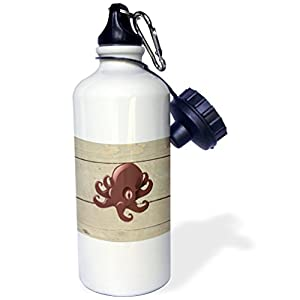 3dRose Florene - Nautical Décor - Image of Cute Red Cartoon Octopus On Old Planks - 21 oz Sports Water Bottle (wb_234292_1)