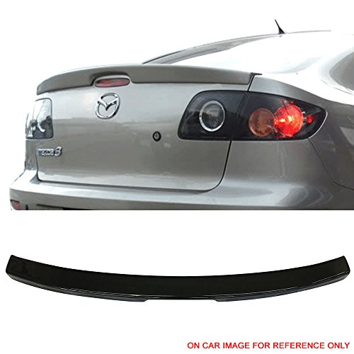 06 Flush Mount Wing - Pre-Painted Trunk Spoiler Fits 2004-2009 Mazda 3 | OE Style Painted #16W Black Mica ABS Flush Mount Trunk Boot Lip Spoiler Wing Deck Lid Other Color Available By IKON MOTORSPORTS | 2005 2006 2007 2008