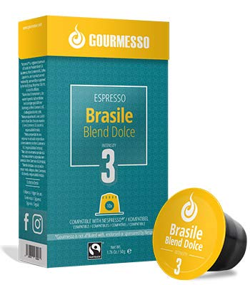 Gourmesso Brasile Blend Dolce - 10 Nespresso Machine Compatible Coffee Capsules - Fair Trade