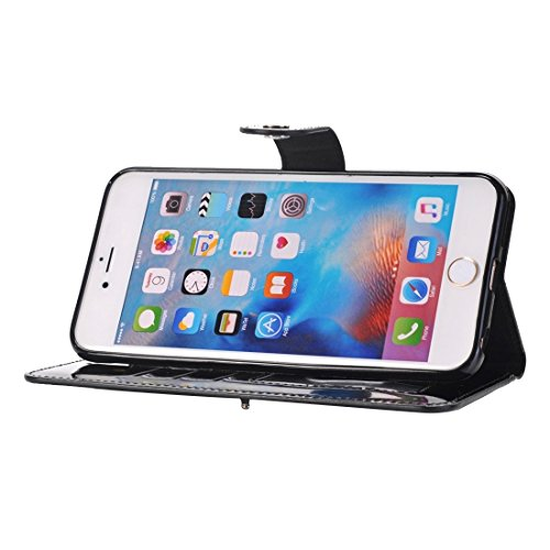 Protege tu iPhone, Para el iPhone 6 más la caja horizontal del tirón TPU + PU con el sostenedor y CardSlots y la carpeta Para el teléfono celular de Iphone. ( Color : Oro ) Negro