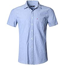 GILBETI Men's Casual Dress Solid Short Sleeve Fitted Button Down Oxford Shirts Blue M