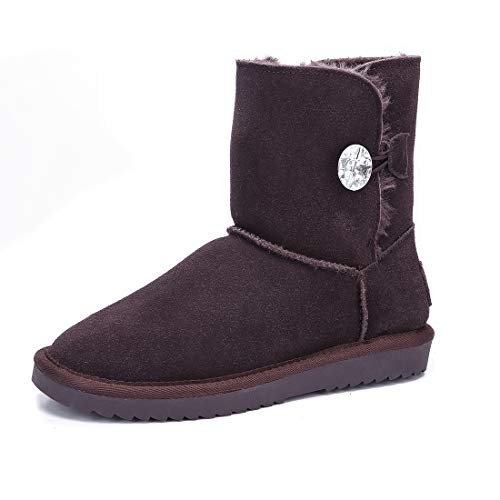 (ADUTEE Women's Leather Fully Fur Lined Classic Mid Calf Winter Boot Snow Boot,9 M US,Chocolate5803)