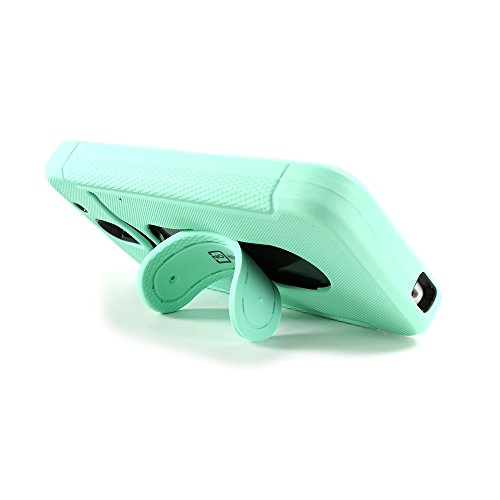 Dual Layer Cover - Teal Skin + Black - Heavy Duty Shockproof Snap On Case with Flex Kickstand for HTC Desire 610 by CoverON®
