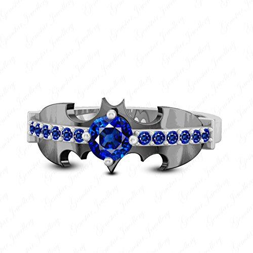 Gemstar Jewellery Brilliant Cut Blue Sapphire 18K White & Black Gold Plated Inspired Batman Ring