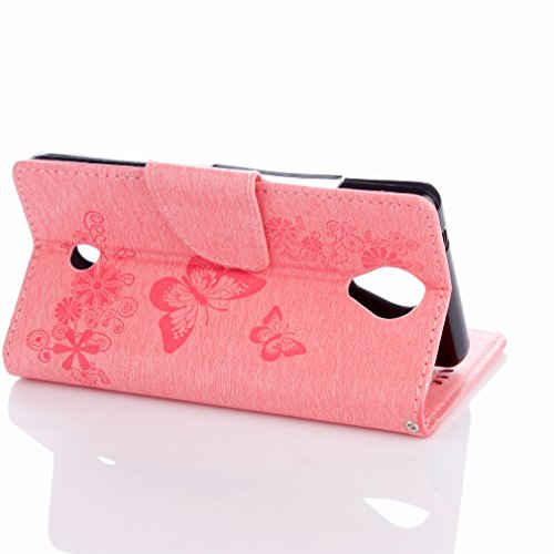 Yiizy Wiko U Feel Custodia Cover, Farfalla Fiore Design Sottile Flip Portafoglio PU Pelle Cuoio Copertura Shell Case Slot Schede Cavalletto Stile Libro Bumper Protettivo Borsa (Rosa)