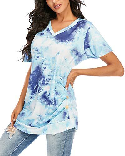 CIZITZZ Tie Dye Short Sleeve Shirt Women V Neck Loose Tops For Women PF3 M