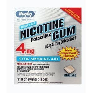 Rugby Nicotine Gum 4mg Sugar Free Original 110 Pieces Pack of 6