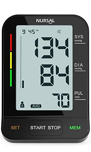 [2019 New Version] NURSAL Upper Arm Blood Pressure Monitor - Large LCD Screen with 2 Power Sources - 2 Users * 240 Times Memory fits Standard and Large Arms (Best Blood Pressure Monitor 2019)