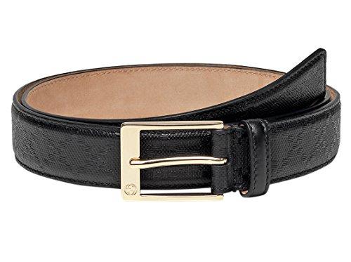 [Gucci GG Black Diamante Leather Square Buckle Belt, 32, Black] (Leather Square Buckle Belt)