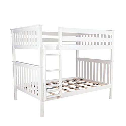 Max & Lily Solid Wood Full over Full Bunk Bed, White (Bunk Beds For Kids Full Over Full)