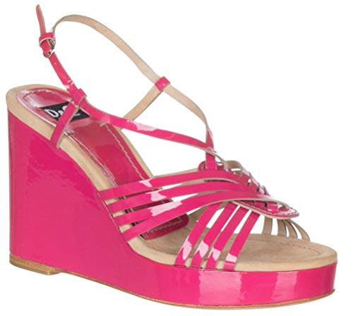 Dolce & Gabbana Women?s Pink Leather Strappy Wedges Sandals Shoes, 7, Pink