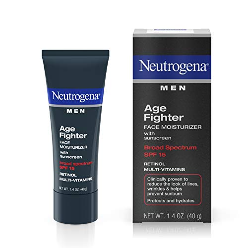 Neutrogena Age Fighter Anti-Wrinkle Face Moisturizer for Men, Daily Oil-Free Face Lotion with Retinol, Multi-Vitamins, and Broad Spectrum SPF 15 Sunscreen, 1.4 oz