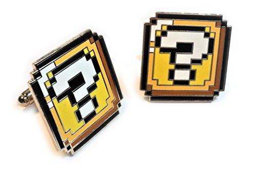 Super Mario World ? QUESTION BLOCK BOX Pixel SNES Suit Wedding Cuff Links CUFFLINKS Pair