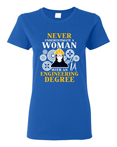 Ptshirt.com-18983-Ladies Never Underestimate A Woman With Engineering Degree Funny DT T-Shirt Tee-B019MEFUH2-T Shirt Design