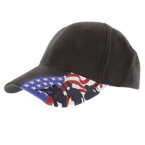 Military - US Marine Corps Embroidered USA Flag Marine Soldier Silhouettes Adjustable Baseball Cap, Black