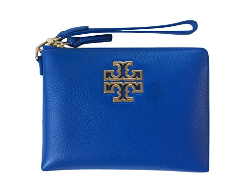 Tory Burch Britten Large Pebbled Leather Zip Pouch Wristlet (Bondi Blue) by Tory Burch