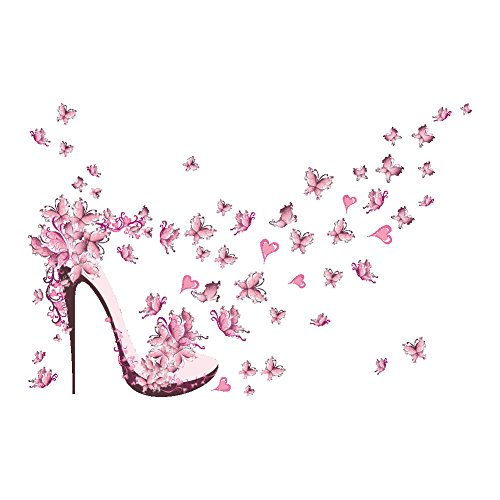 Whitelotous Pink Butterfly High Heel Wall Stickers Vinyl Art Removable Wall Sticker Decal Bedroom Living Room Wall Decor