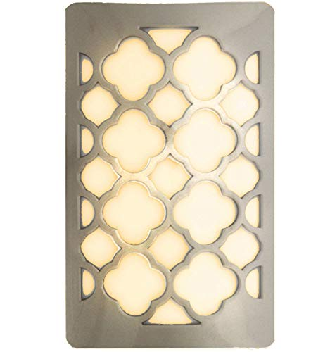 - WESTEK Decorative Plug in Night Light by Amertac - LED Night Light Cover with Auto Dusk Dawn Sensor - Ideal for The Hallway, Bedroom, Bathroom, Warm Light - Hides Unused Outlet Plugs - Nickel Finish