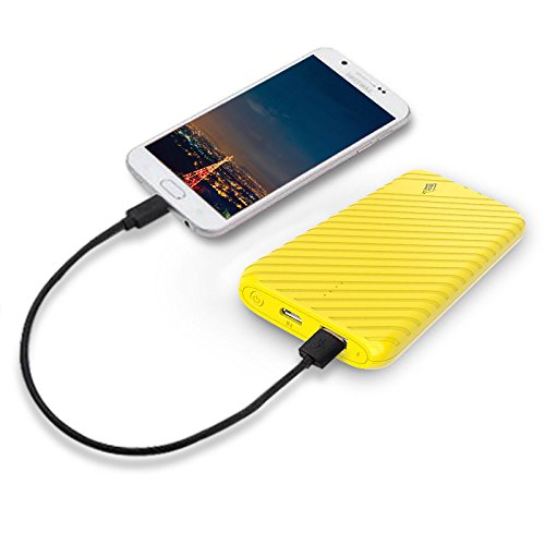 Ultra-Compact Portable Power Bank, LAX 4000mAh External Battery Pack Charger USB Output for iPhone, Samsung Galaxy and More (Yellow)