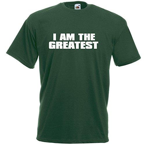 I AM THE GREATEST T-Shirt Bottle Green / Druck Weiß