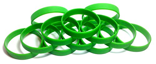 Rubber Kids Bracelets (1 Dozen Multi-Pack GREEN Wristbands Bracelets Silicone Rubber - Select from a Variety of Colors (Green, Youth (7