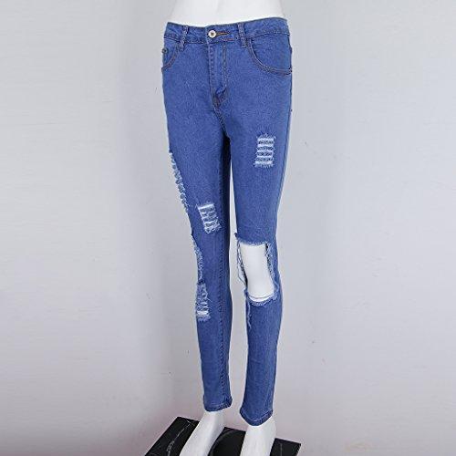 Pour Taille Dchir Femme Prettyia Jean Haute Denim Stretch XL Extensible Dchir Genou En Bleu Pantalon S P XqBwvIzw